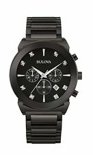 Bulova Men's 98D123 Diamond Markers Chronograph Black Stainless Steel Watch