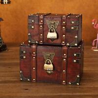 Retro Treasure Chest Wooden Jewelry Trinket Storage Box Case Holder with Lock