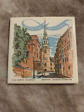 Old North Church Boston Vtg Tile Trivet Historical Midnight Ride Paul Revere 6x6