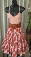 VINTAGE Style 50'S ~ Peach TOP/SKIRT/BELT COMBO SET * Size 8 * ROCK * REDUCED !!
