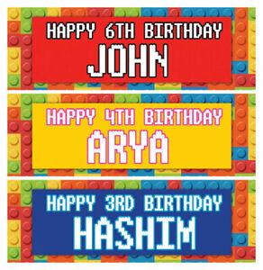 2 personalised birthday banner building blocks bricks kids party nursery poster