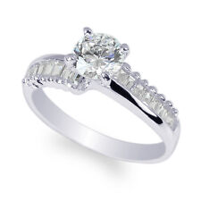 14K White Gold  Round CZ Stylish Solitaire Ring with Baguettes Size 4-10