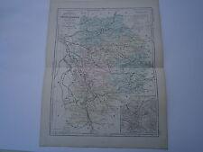 Carte 19° 1852  couleur Malte brun Département  Seine et Marne plan de Melun