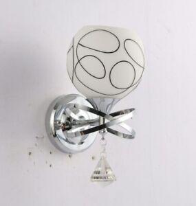 Applique moderno paralume vetro bianco pendenti cristallo attacco E27E10