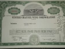 Custer Channel Wing Corporation Stock Certificate  1968 Free Shipping