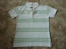 JOULES green & white striped cotton POLO SHIRT Size 12 (M8) USED GOOD CONDITION