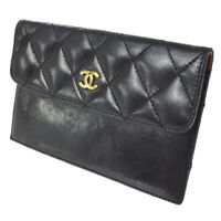 CHANEL CC Logos Quilted Coin Purse Wallet Black Leather Vintage AK31849k