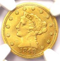 1848-C Liberty Gold Quarter Eagle $2.50 - NGC AU Details - Rare Charlotte Coin!