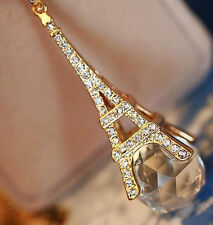 Gold Clear White Rhinestone Eiffel Tower Disco Ball Pendant ROLO Chain Necklace