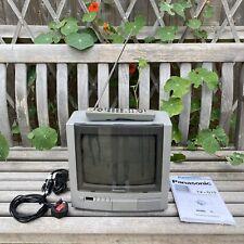 "Vintage Retro Gaming PANASONIC 10"" COLOUR CRT TV TX-G10 -Manual/Remote/Cables x2"
