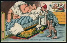 Chamber Pot fat woman Gym in Bed comic original c1910-1920s postcard