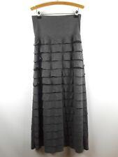Studio M Maxi Skirt Grey Size XL Tiered Layers Boho Stretch Foldover Waist