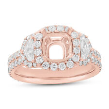 18K Rose Gold 7x7MM Semi Mount Diamond Ring Setting, 3 Stone Shield Cut Mounting