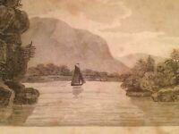 Vintage 1800's Antique Print Steel Engraving Lake Champlaim