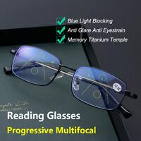 Multifocal Reading Glasses Memory Temple Anti Blue Light Presbyopic Glasses