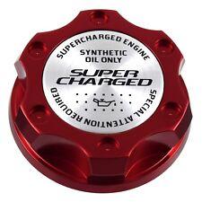 Rojo Racing Tapa Aceite Motor Relleno Plata Super Charged Emblema para Ford