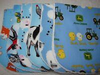 Pack of 6 Burp Cloths Blue Farm Set Cows Sheep Motorbikes & Tractors Handmade