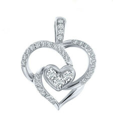 Women Love Heart Necklace Silver White Crystal CZ Pendant Wedding Chain Gift Box
