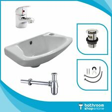 Small Compact Bathroom Cloakroom Basin Sink Wall Hung Tap Waste & Bottle Trap