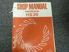 1981 Honda HS35 Single Stage Snowblower Shop Service Repair Manual