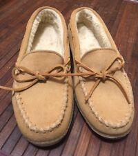 MINNETONKA TAN SUEDE SHERPA LINED MOCCASIN Shoe RUBBER SOLE SIZE 11