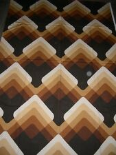 Vintage 60s 70s abstract arty pattern brown cream beige large fabric length
