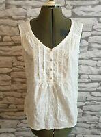 Mantaray White Vest Size 10 uk women's ladies summer holidays casual