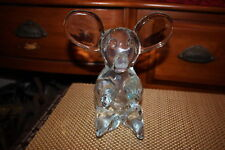 Cute Glass Teddy Bear Figure-Thick Heavy Glass Bear Sitting Upright Paperweight