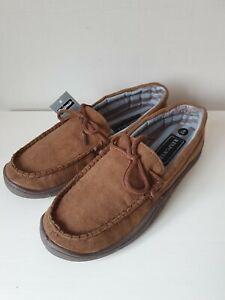 Mens Comfortable Brown Mocassin Slippers -  Size UK 6