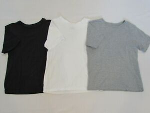 LOT OF 3 BOYS' THE CHILDREN'S PLACE S/S SHIRTS, NAVY/WHITE/GREY, SIZE MEDIUM 7/8