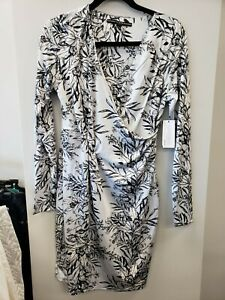 GUESS NWT $98 Black/Gray Surplice Faux-Wrap Stretchy Short Dress Small