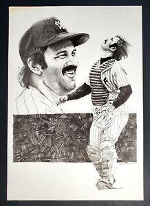 "vtg New York Yankees Great Thurman Munson By Dan McKee""11x16"" Art Print 1990s !"