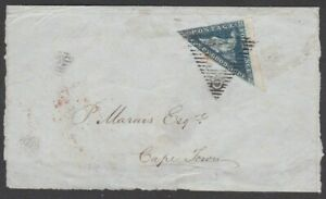 CAPE OF GOOD HOPE 4D DEEP BLUE TRIANGULAR SG6 TIED TO LGE PCE + FINE BACKSTAMPS