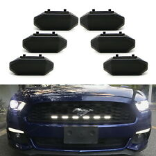6pc White LED Front Grille Insert DRL Driving Light Kit For 2015-17 Ford Mustang
