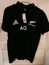 Adidas New Zealand All Blacks Rugby Polo Shirt Jersey Mens Sz L