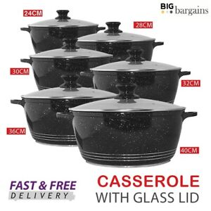 Non Stick Stockpot Casserole Ceramic Coated Cooking Pot With Handles Glass Lid