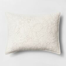 ONE Threshold EMBROIDERED FLANNEL CREAM Pillow Sham EURO SIZE NEW TARGET
