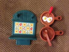 Fisher Price Loving Family 1999 Frying Pan with Eggs, Pot with spoon & Pot Rack