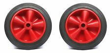 """2 QUALITY 150mm(6"""") Black Tyre/Red Centre Wheels - MOBILE BOX/CART/TOY/TROLLEY*"""