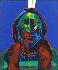 John Nieto Red Cloud  face portrait color with Publisher COA abstract Indian Art