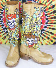 7 B vintage 70's painted skull JUSTIN Yellow Rose OOAK knee-high campus boots