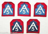 lot de 5 Patchs originaux Vietnam USA -  5th Army  ( 295 )