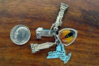 Vintage silver NEW YORK UNITED NATIONS STATUE LIBERTY EMPIRE charm CHARMS LOT