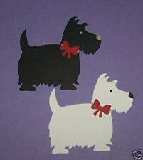 2 Westie Dogs / Scottie Dogs Premade PAPER Die Cuts / Scrapbook & Card Making