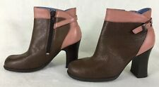 Indigo by Clarks Brown Tan Leather Booties Side Zip Ankle Boots Women's Size 5M