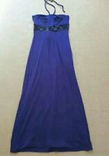 SEXY MONSOON PURPLE JERSEY BEAD DETAIL STRAPLESS BANDEAU MAXI DRESS SIZE 10 BNWT