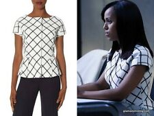 The  Limited SCANDAL Collection White Black Short Sleeve Peplum Blazer S Small