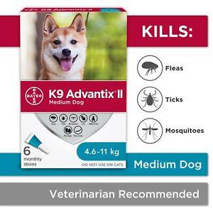 K9 Advantix II - Flea and Tick Drops for Med Dogs 4.6kg-11kg(10-24lb) - 6 Doses