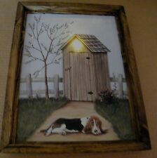 Framed dog OUTHOUSE lighted LED canvas art print bathroom picture decor sign