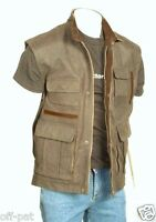 Mens Leather Gilet Biker Style Waistcoat Vest  Hunting Most Sizes